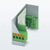 Orthogonal PCB terminal block for DIN rail devices