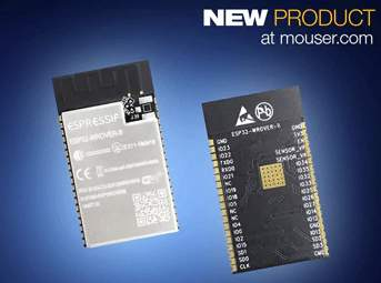 Mouser Electronics Now Stocking Espressif's ESP32-WROVER-B Wi-Fi and BLE Module with Added Memory