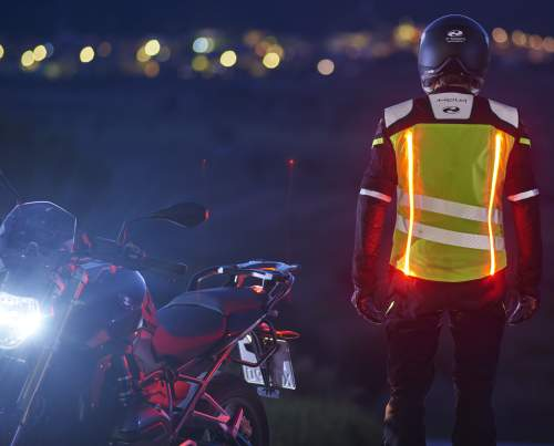 Luminous motorbike clothing for enhanced safety on the road